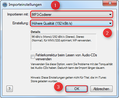03 iTunes CD in MP3 umwandeln Importeinstellungen MP3 Codierer 470