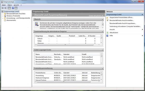 Windows Standard - fehlefreie Ereignis-Anzeige