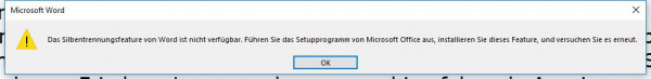 Word-Fehler