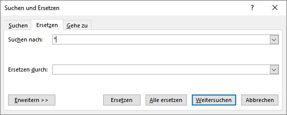 Word 2019 Suchen und Ersetzen Dialog