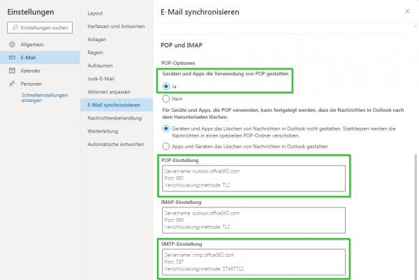 Outlook.com POP-Einstellungen