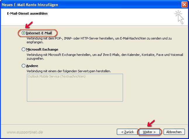 Outlook 2007 POP3-E-Mail-Konto für hotmail.de erstellen
