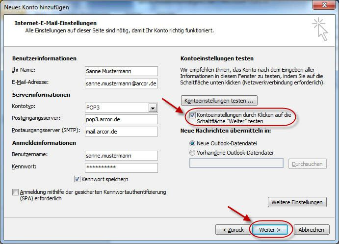 Outlook 9 – E-Mail-Konto für Arcor.de einrichten (POP9/SMTP
