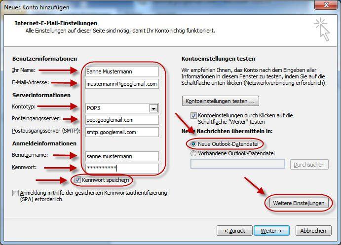 Outlook 9 – E-Mail-Konto für Googlemail.com einrichten (POP9