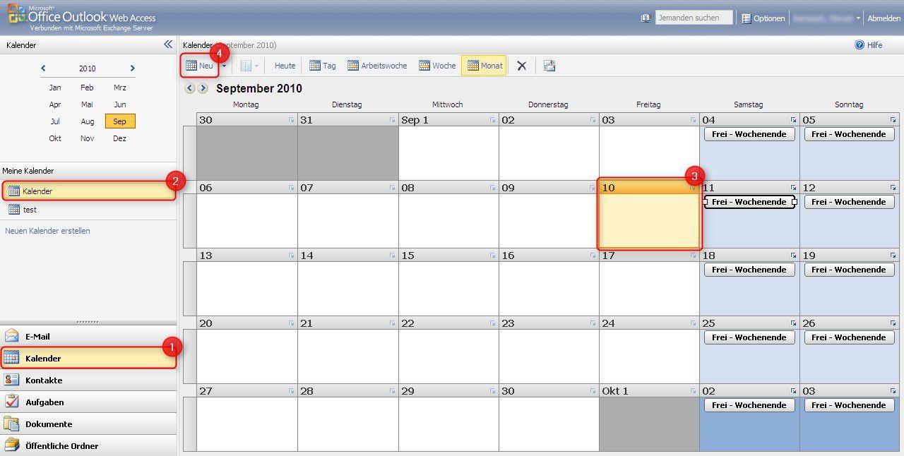 Microsoft Outlook Web Access (OWA) 2010 – Termin erstellen – Supportnet
