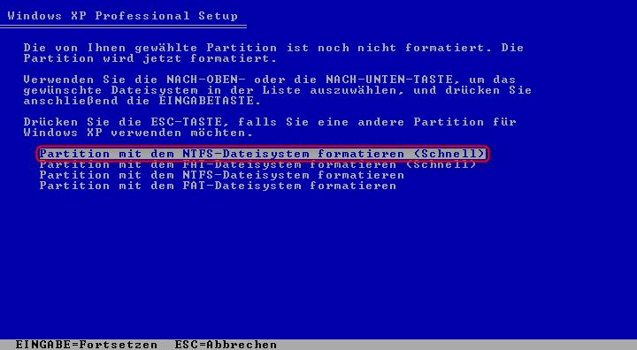 06-Windows-XP-Installation-Festplatten-NTFS-Schnellformatierung-470.png