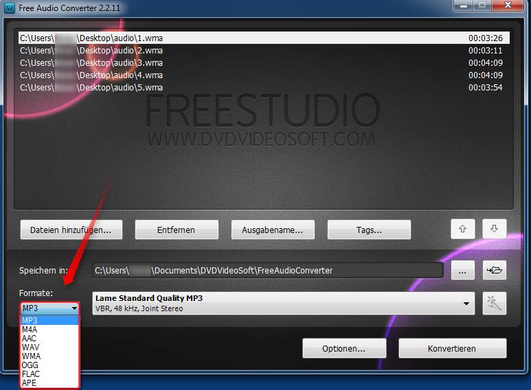 02-FreeAudioConverter-Ziel-Format-auswaehlen-470.png