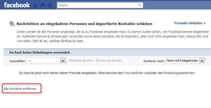 kontakte bei facebook löschen