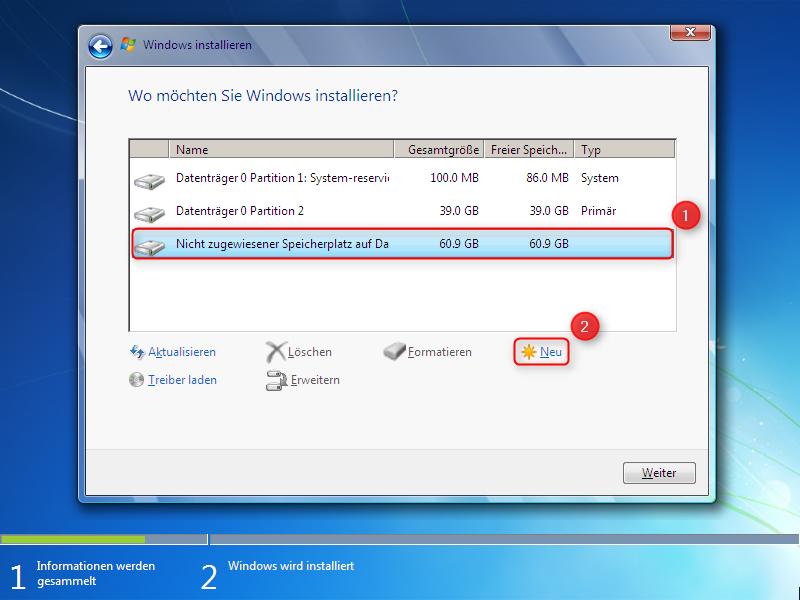 Windows 7 Installation Festplatte Partitionieren Supportnet
