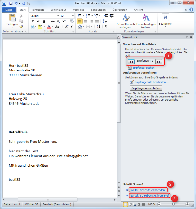 Serienbrief Seriendruck Erstellen In Word 2010 Supportnet