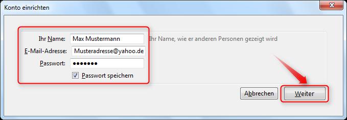 yahoo mail name ändern