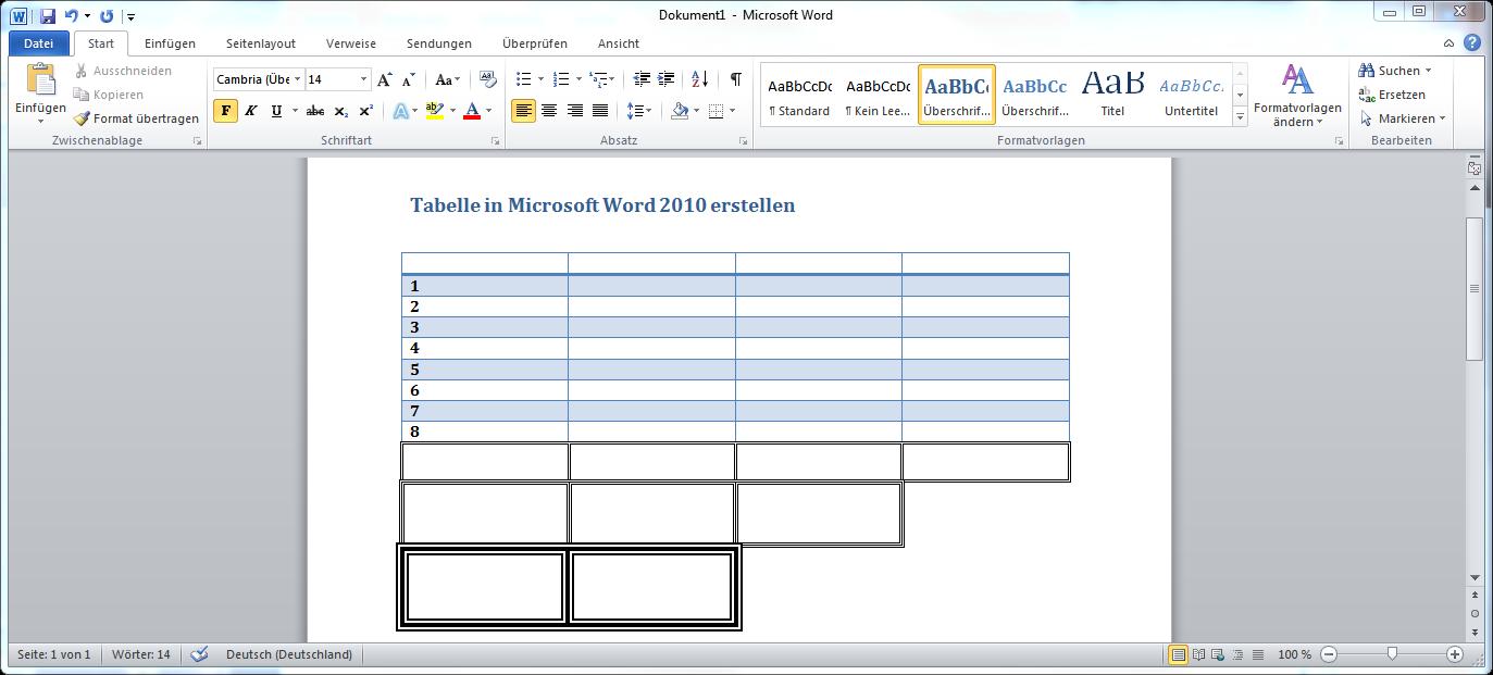 Tabelle in Microsoft Word 2010 erstellen – Supportnet