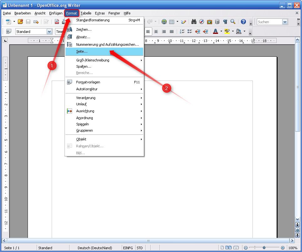 Mit Open Office 9.9 eine Seite einrichten – Supportnet