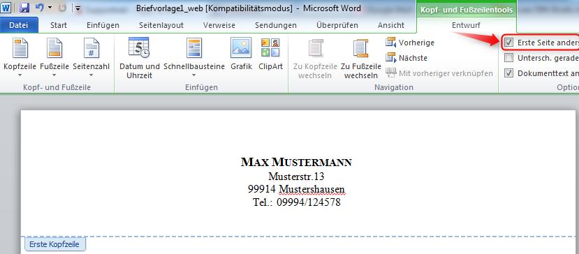 Microsoft Word Briefkopf Briefvorlage Erstellen Und