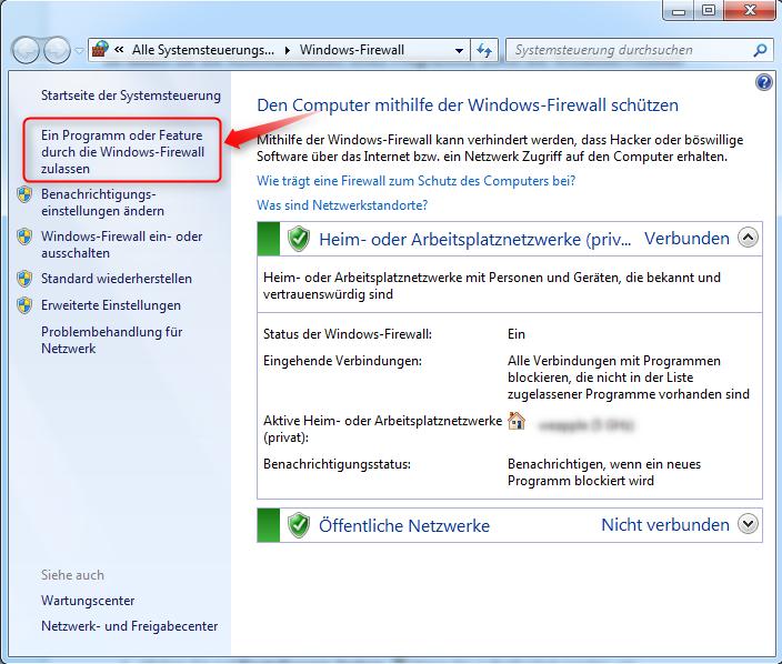 einstellung firewall überprüfen