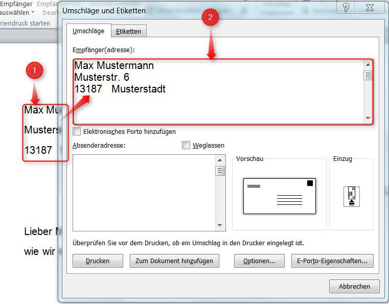 Briefumschläge In Word 2010 Drucken Supportnet