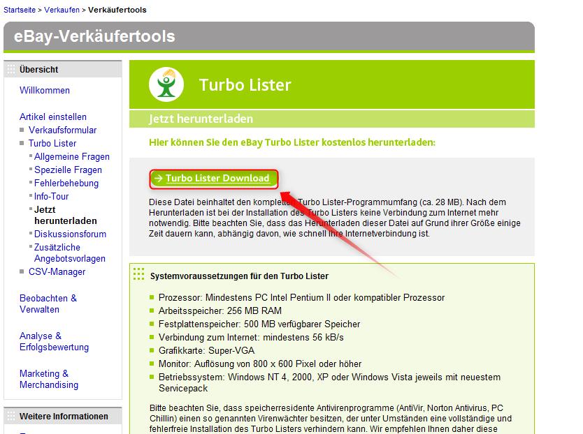 Turbolister – Einfach eBay Auktionen erstellen – Supportnet
