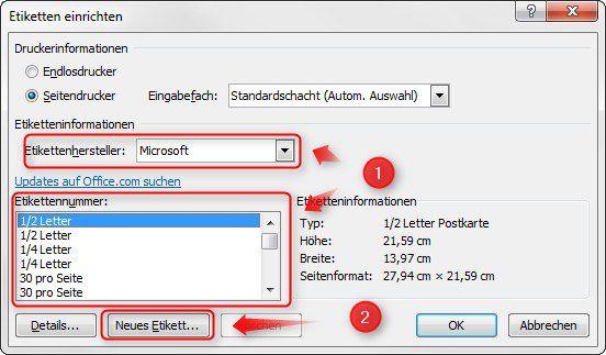 Microsoft Office Word 2010 Etiketten Gestalten Und