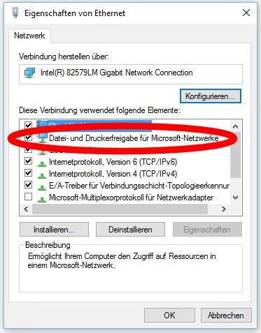 Datei und Druckerfreigabe für Microsoft Netzwerke