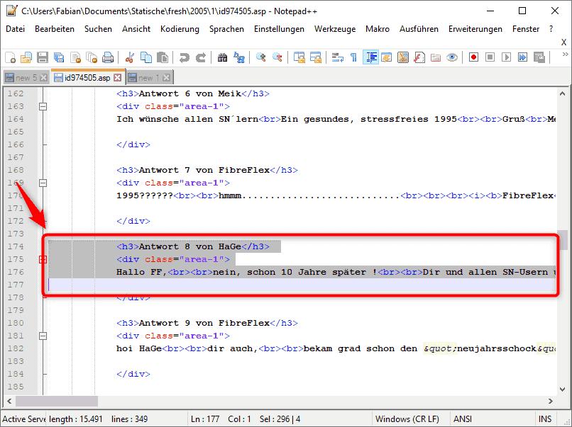Notepad ++ Text Block mit der Markieren
